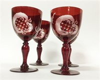 8 Pieces of Cranberry Glass