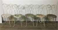 5 Vintage Metal Cafe Chairs