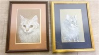 Signed N Ross Pastels of Cats