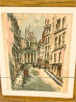 Pair of French Street Scene Watercolors