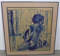 Oil on Paper of Nude Figure