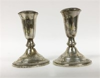 2 Pair of Weighted Sterling Candlesticks