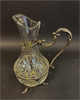 Crystal Pitcher With Silver Plate Mounts