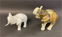 Two Royal Dux Elephants