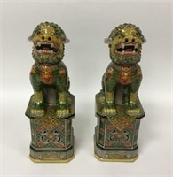Pair of Chinese Pottery Foo Dogs