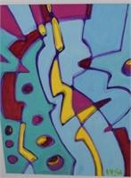 Pair Of Abstract Mixed Media Wayne Cunningham