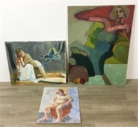 3 Nude Oil Paintings