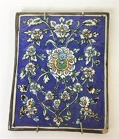 2 Hand Painted Art Pottery Tile Plaques