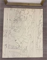 2 Unsigned Pen & Ink Drawings