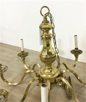 Brass 8 Light Chandelier