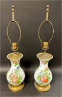 Pair of Hand Painted Glass Lamps
