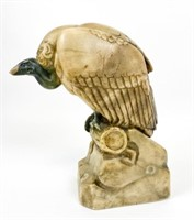 Marble Sculpture of a Vulture Signed Hamburger