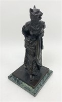Bronze Woman With Cat Head Signed Sherman