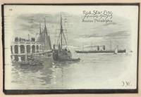 2 Framed Red Star Line Postcards
