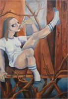 Modern Painting of Girl with Cigarette