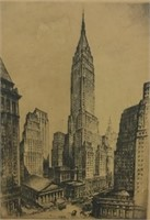 Edith Penman Etching, S Fink Litho, NYC Etching
