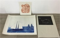 3 Pencil Signed Etchings