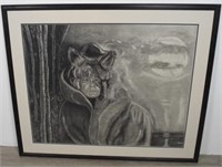Large Format Print of Native American and Wolf