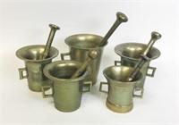 5 Brass and Bronze Mortars & Pestles