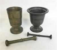 6 Brass and Bronze Mortars & Pestles