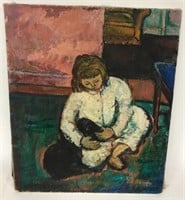 Mid Century Oil Painting of Child With Dog