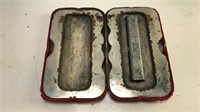 Antique Hand Warmer Metal Case covered in velvet