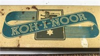Antique Koh-I-Noor Metal Pencil Box with Drawing