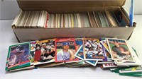 Unmarked box of sports cards mixed Mfgs and