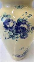 12 inch high porcelain painted flower vase