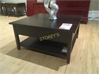 "Maple 38"" Square Coffee Table w/ Shelf"