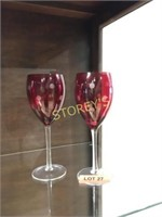 Pair of Red Wine Glasses