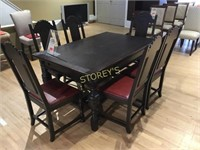 Solid Oak Ornate Style Dining Table w/ 6 Chairs