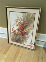 Framed Flower Picture - 23 x 29