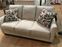 White Sofa w/ 2 Toss Pillows - Marshfield Furnitur