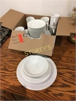 Qty of White Dishes; 6 Plates, 6 Cups, 2 Bowls, 5
