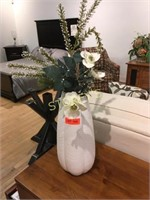 "White Décor Vase w/ Faux Flowers - 16"" Tall"