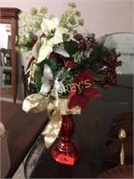 Red Vase w/ Xmas Décor