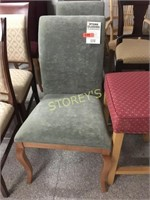 Maple Curved Back Green Dining Chair