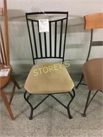 Metal Chair w/ Tan Upholstery