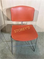 Orange Fiberglass Stacking Chair