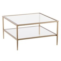 SQUARE METAL COCKTAIL TABLE WITH TEMPERED