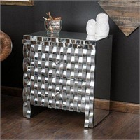 BARDOT MIRROR END TABLE WITH PLYWOOD FRAME