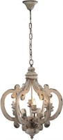 A & B HOME WOOD AND METAL CHANDELIER