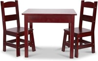 MELISSA AND DOUG WOODEN TABLE AND CHAIRS SET