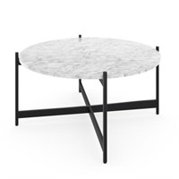 NATHAN JAMES PIPER FAUX MARBLE ROUND COFFEE TABLE