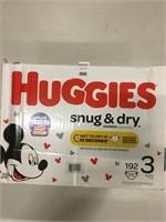 HUGGIES SNUG & DRY 192 DIAPERS SIZE 3