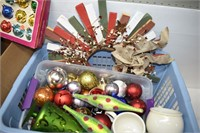 Basket & Box of Christmas Items