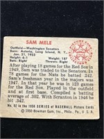 1950 Bowman Gum Sam Mele Baseball Card