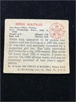 1950 Bowman Gum Eddie Waitkus Baseball Card