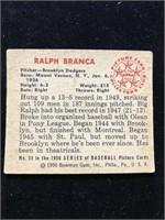 1950 Bowman Gum Ralph Branca Baseball Card